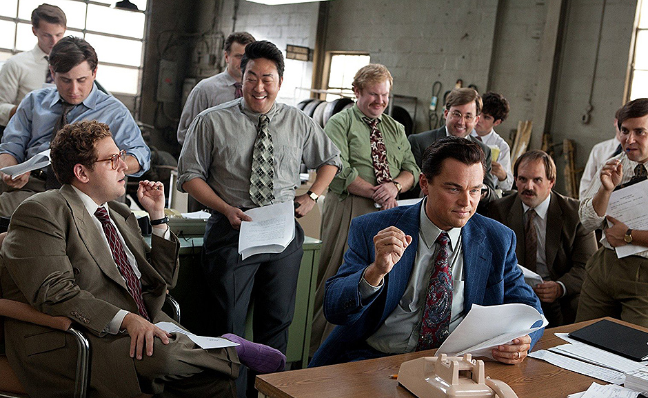 Leonardo DiCaprio, P.J. Byrne, Kenneth Choi, Ethan Suplee, and Jonah Hill in The Wolf of Wall Street - Credit IMDB