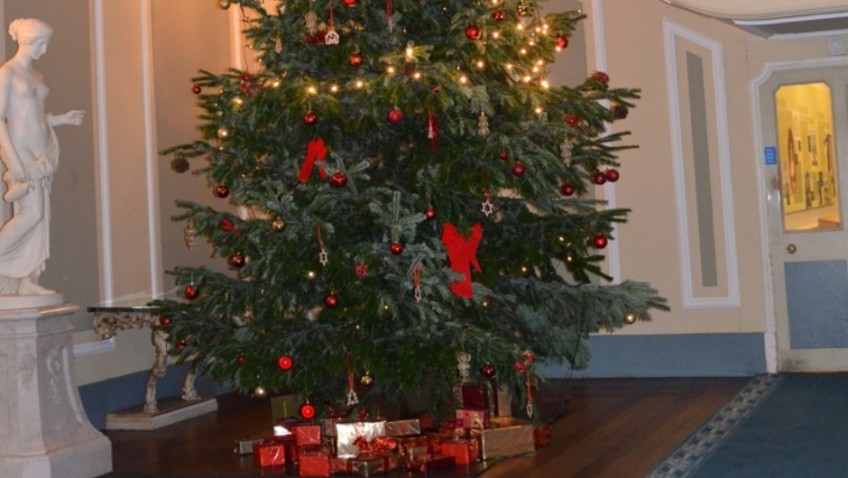 One of the earliest Christmas trees is decorated