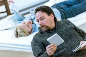 Maxine Peake and Peter Forbes in rehearsal for How To Hold Your Breath at the Royal Court. Credit Manuel Harlan.