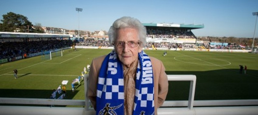 Britain's oldest female football fan rewarded for loyalty aged 100!