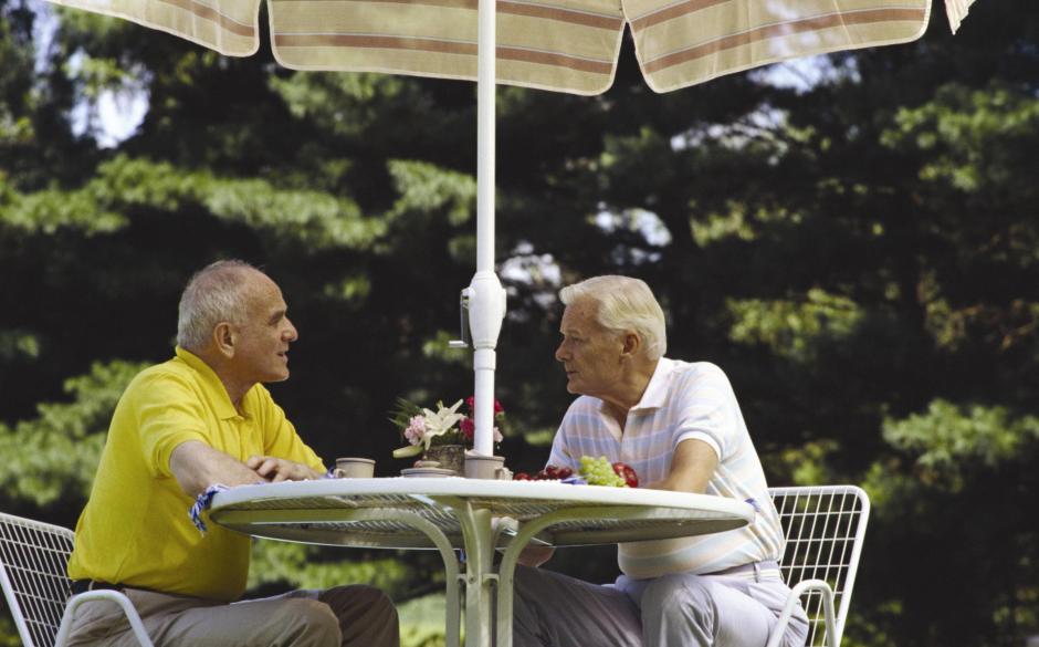 Mature men in the garden