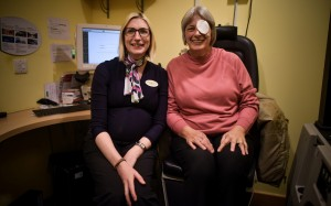 Sandra Wilson, 60, is pictured with Optometrist Sinead Connolly at the Specsavers branch in Elgin, Moray