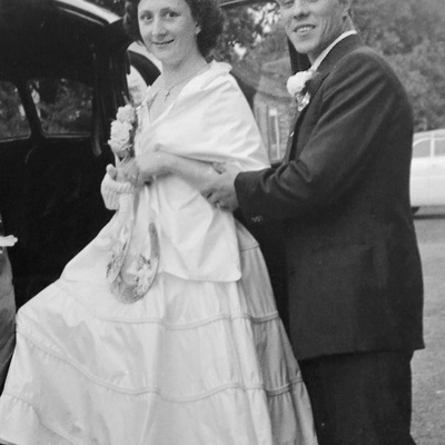 Rose and Harry Brookman pictured at their register office wedding in 1956