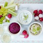 Trio of spring onion dips