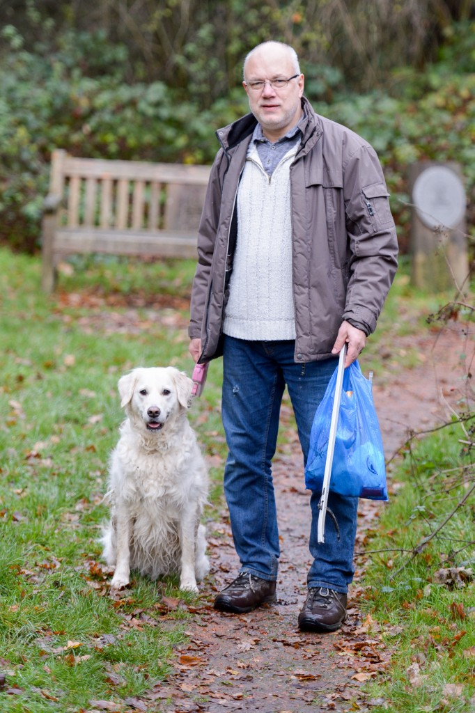 "Malcolm Walls, with his dog Poppy, has picked up more than 600 bags of rubbish in the last three years to keep part of Crawley litter-free wants more people to take responsibility for the litter they drop. Crawly, West Sussex. See SWNS story SWBIN; A super-citizen has taken litter picking to extreme lengths and has already collected almost 300 bags of rubbish this year. Father-of-two Malcolm Walls, 56, picks up everything from dirty nappies to empty takeaway containers and has on occasion even spotted used needles. The retiree walks the same 20-minute route near his home every single day since 2012 when he became overwhelmingly frustrated with the amount of litter discarded in the streets. Malcolm, from Crawley, West Sussex, said: ""It reached the point where my frustration levels at thinking 'how could someone walk away and leave litter laying on the floor' reached a tipping point. ""I happened to have a carrier bag with me when I saw a pile of litter on the floor by a bench and I've been picking up rubbish ever since. credit SWNS"