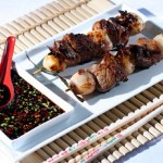 Oriental Lamb, Shallot and Citrus Kebabs with Soy and Honey Dipping Sauce