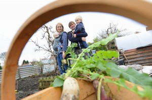 The Podd family from Wolverhampton at the allotment for the Edible Garden feature. Picture by Sam Bagnall