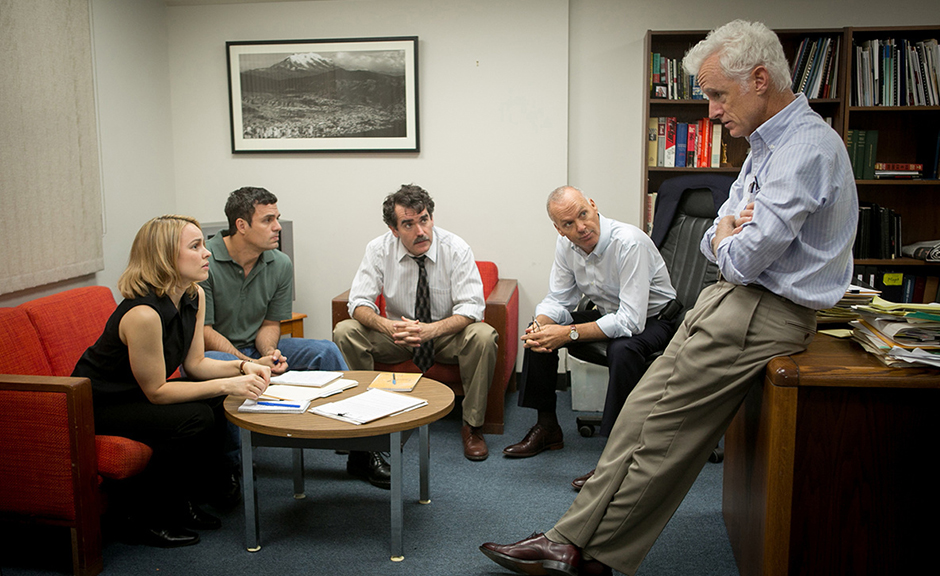 Michael Keaton, Brian d'Arcy James, Mark Ruffalo, John Slattery, and Rachel McAdams in Spotlight - Credit IMDB
