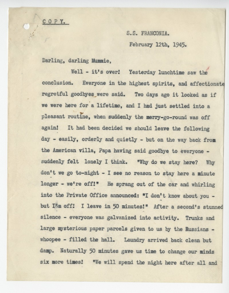 Sarah Churchill's letter to her mother in February 1945 - Copyright Churchill Archives Centre / SWNS Group - Credit Churchill Archives Centre / SWNS