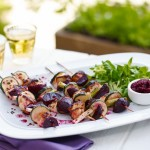 Cumin and pomegranate infused beetroot, halloumi & courgette kebabs in lime & toasted cumin seed dressing