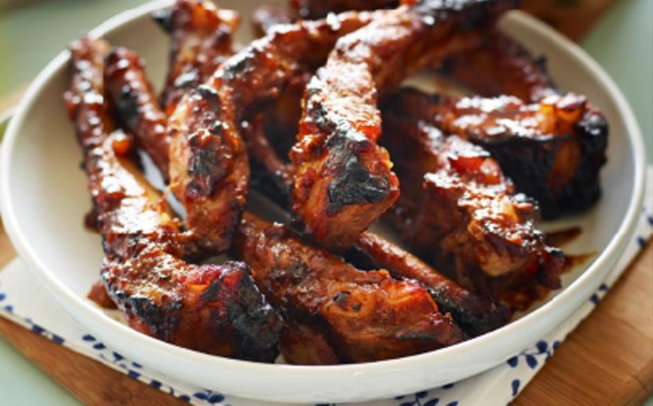 BBQ spiced marmalade glazed pork ribs with fresh radish ...