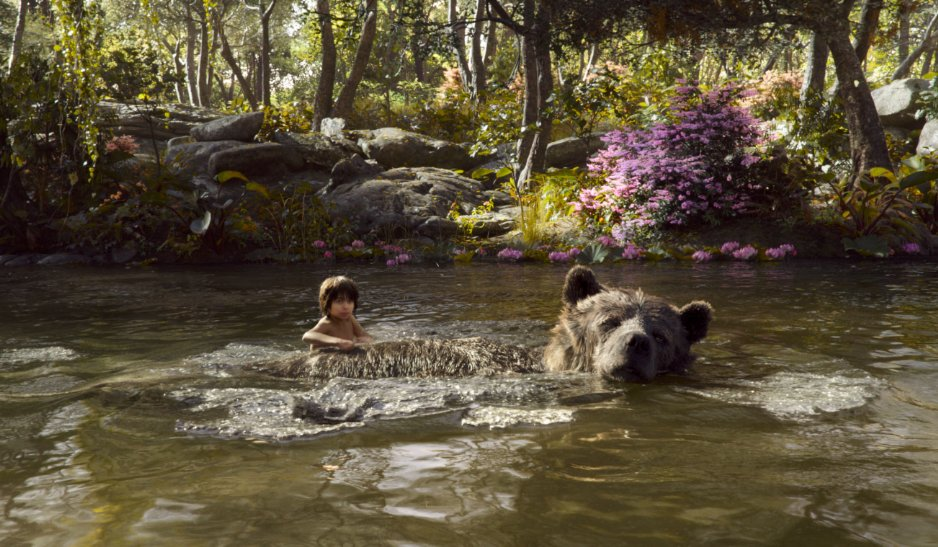 Mowgli and Baloo swimming in river