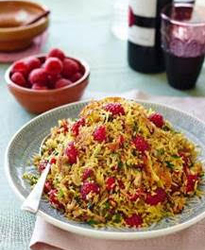 Persian jewelled rice with raspberries, walnuts and parsley