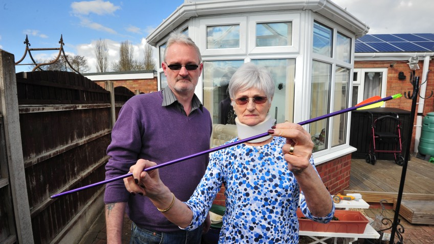 Pensioner shocked when window smashed by arrow
