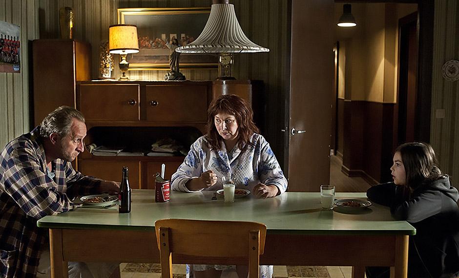 Yolande Moreau, Benoît Poelvoorde and Pili Groyne in The Brand New Testament - Credit IMDB