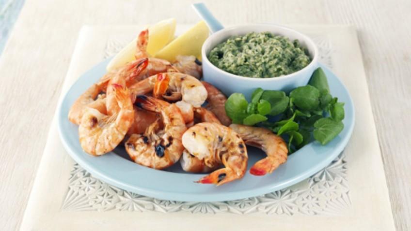 Watercress and garlic dip with king prawns