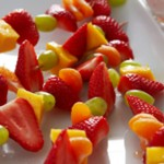 Fruit kebabs with BerryWorld strawberry milk