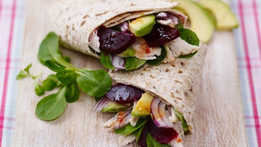 Sweet chilli infused beetroot and chicken wraps