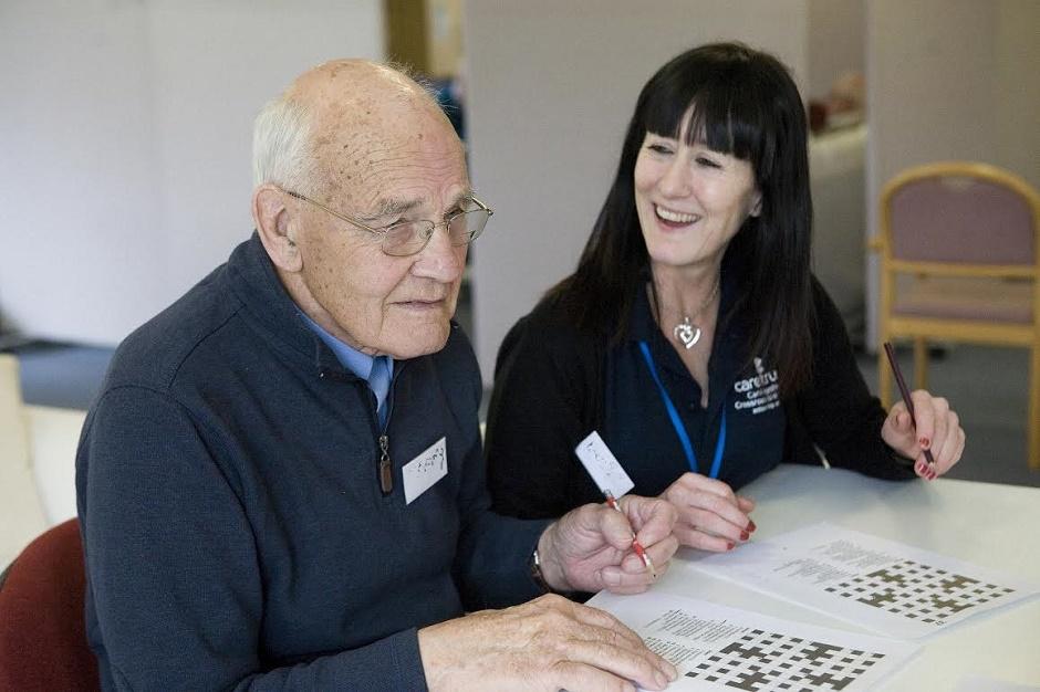 Older man with carer