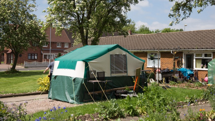 Disabled war veteran forced to live in tent on his front garden