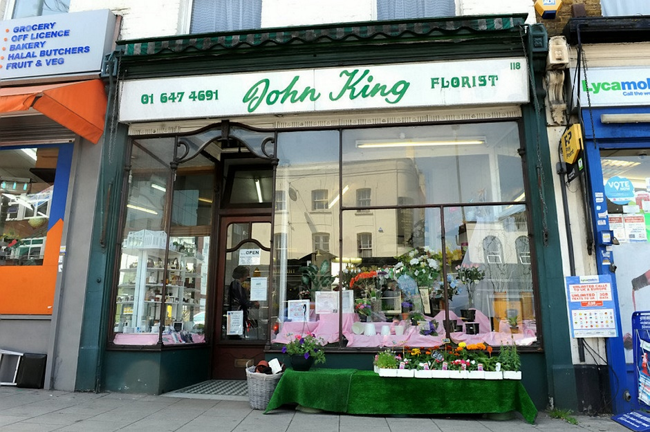 GV of John King Florist, Sutton, south London. See National story NNBLOOM; A flower shop that had been running for over 150 years closed its doors after being pushed out by rising rents and supermarkets. Two sisters who have run the florist shop are to retire after more than half a century working in the shop. John King florists in Sutton, south London, which is the oldest business in the area, closed its doors for good at the weekend after 156 years. Alice Hartley, 82, and Gwen Miller, 66, said they were shutting down with a heavy heart but that rising rents and supermarkets had made it time to go.