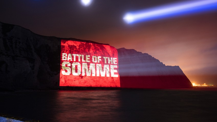 Tribute to the fallen of the Somme beamed onto the White Cliffs