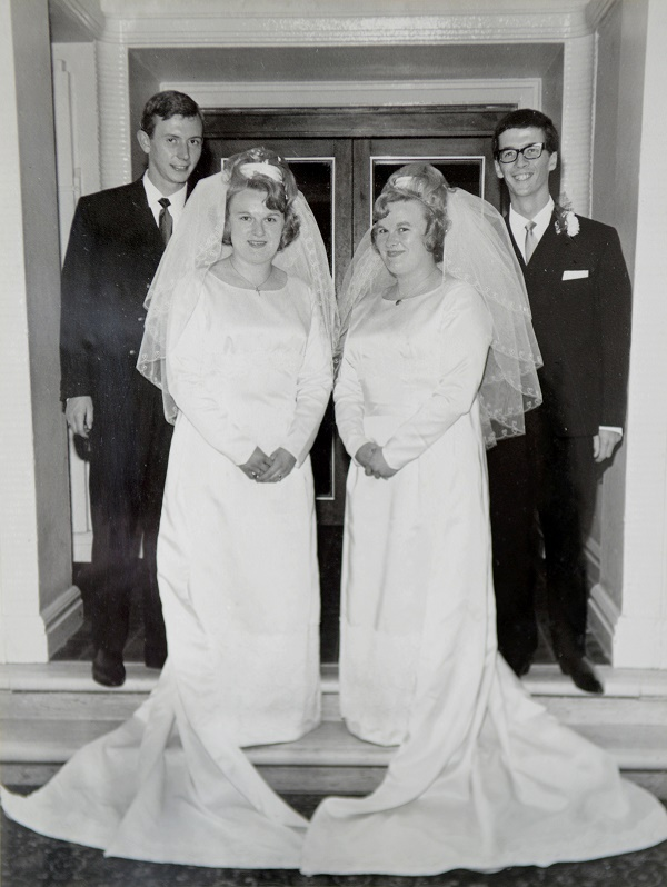 Collect of Allen and Margaret Natkaniec and Anne Carwardine and  Allan Carwardine on their wedding day on July 23, 1966 in Plymouth, Devon. See SWNS story SWTWINS; Twin sisters who got married in a double ceremony and went on honeymoon together are now BOTH celebrating their golden wedding. Inseparable Anne and Margaret King were 21 when they were wed side by side on July 23, 1966. And they have now shared another milestone together by both clocking up 50 years of happy marriage. Margaret married Allen Natkaniec, 71, and Anne became the wife of Allan Carwardine, 71, with their father, Alderman and former Lord Mayor Ron King, having the honour of giving away his twin daughters. The wedding reception was held at the Continental Hotel in Plymouth, Devon, and the newlyweds honeymooned together in Italy where they watched England win the World Cup.
