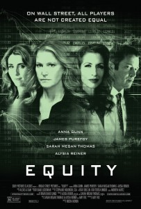 Equity film poster of three women and man