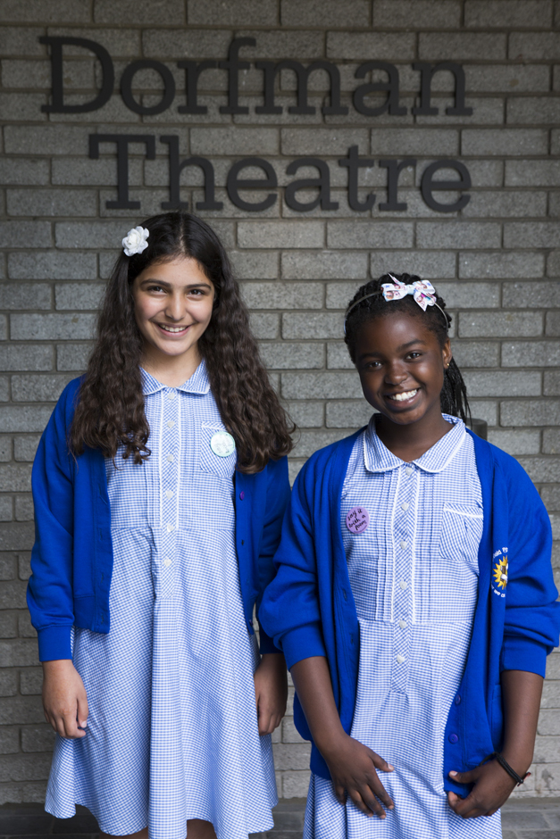 Two girls from All Saints Primary School - National Poetry Day - Credit Ellie Kurttz
