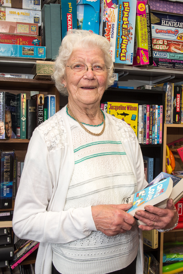 Edna Bateman 100-years-old working in the Rotherham Hospice charity shop Copyright SWNS.com - Credit Dean Atkins / SWNS.com