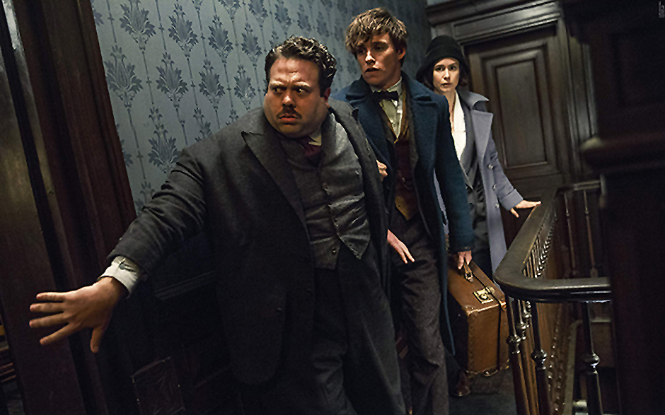Dan Fogler, Eddie Redmayne, and Katherine Waterston in Fantastic Beasts and Where to Find Them - Credit IMDB