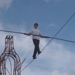 Tightrope walker attempts stunt at London's Southbank