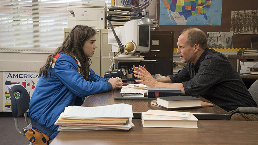 Woody Harrelson and Hailee Steinfeld in The Edge of Seventeen - Copyright 2015 STX Productions, LLC. All rights reserved. - Credit IMDB