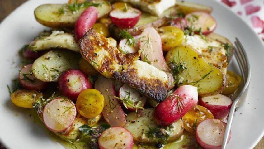 A Warm Radish, Halloumi, Potato and Cherry Tomato Salad with a Mustard and Dill Dressing