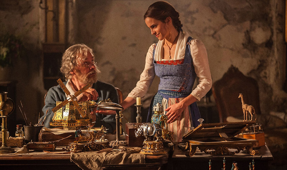 Kevin Kline and Emma Watson in Beauty and the Beast - Credit IMDB