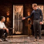 Architect acting the giddy goat in Edward Albee's play