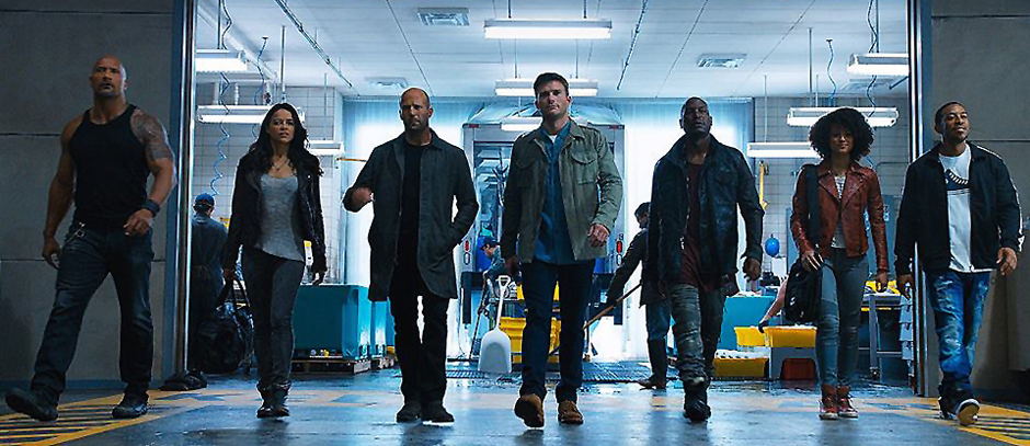 Jason Statham, Dwayne Johnson, Ludacris, Michelle Rodriguez, Tyrese Gibson, Scott Eastwood and Nathalie Emmanuel in Fast & Furious 8 - The Fate of the Furious - Credit IMDB