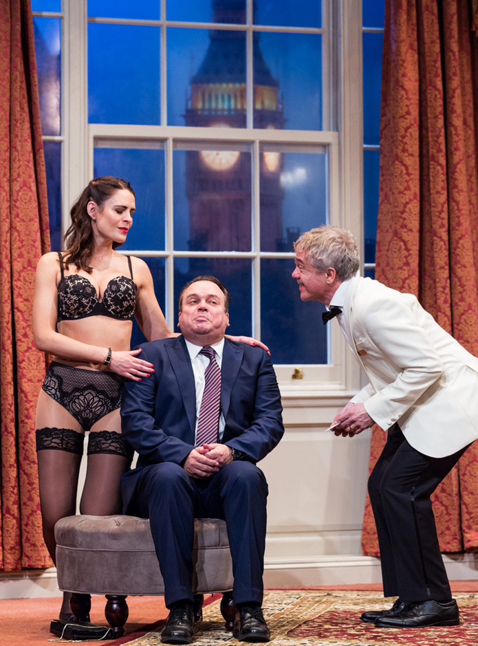 Susie Amy, Shaun Williamson and James Holmes in Out Of Order - Credit Sheffield Lyceum