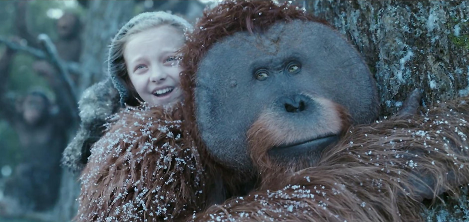 Karin Konoval and Amiah Miller in War for the Planet of the Apes - Credit IMDB