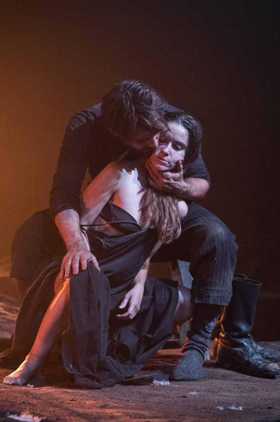 Christian Cooke and Judith Roddy in Knives in Hens - Credit Marc Brenner