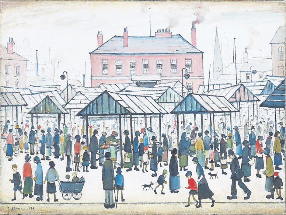 Market Scene, Northern Town 1939 by LS Lowry
