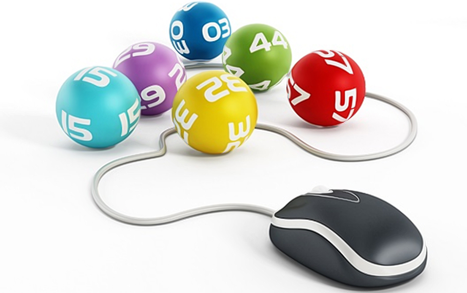 US Powerball lottery balls and mouse