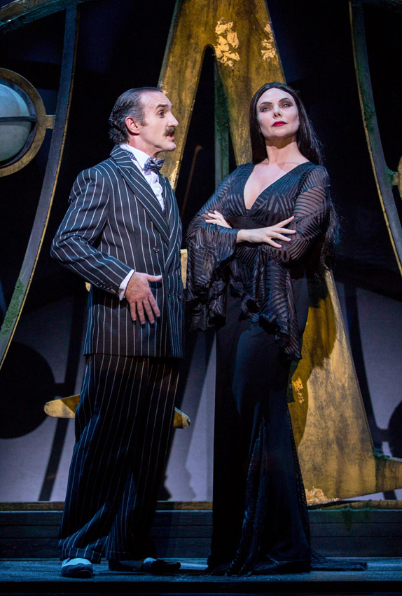 Cameron Blakely and Samantha Womack in The Addams Family - Credit Matt Martin