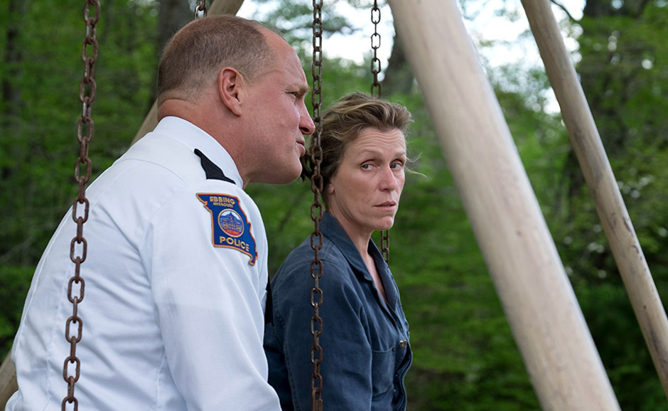 Woody Harrelson and Frances McDormand in Three Billboards outside Ebbing, Missouri - Credit IMDB
