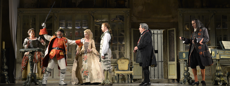 Yvonne Howard, Eleazar Rodriguez, Sarah Tynan, Morgan Pearse, Alan Opie and Alastair Miles in ENO's Barber of Seville - Credit Robbie Jack