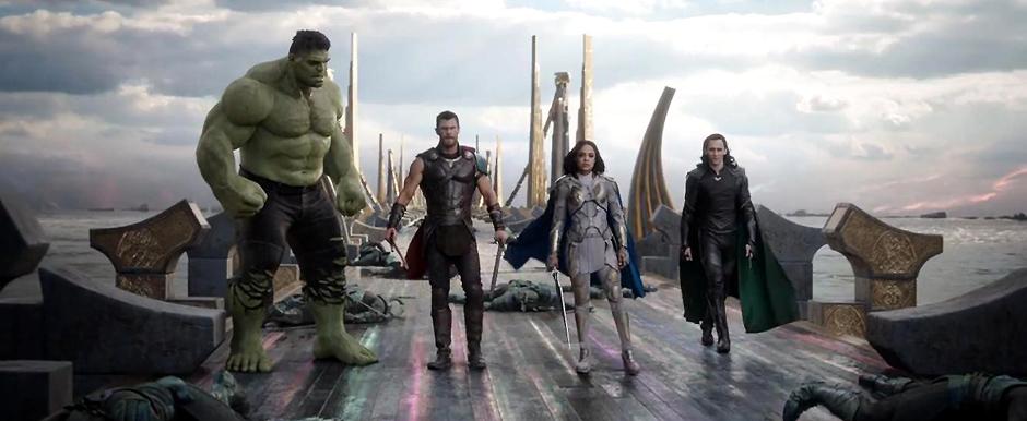 Mark Ruffalo, Tom Hiddleston, Chris Hemsworth, and Tessa Thompson in Thor: Ragnarok - Credit IMDB