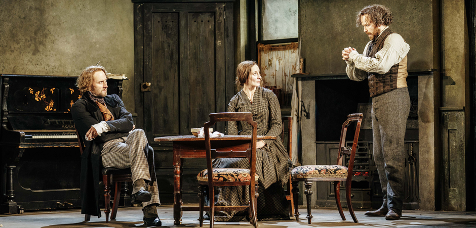 Oliver Chris, Laura Elphinstone and Rory Kinnear in Young Marx - Credit Manuel Harlan