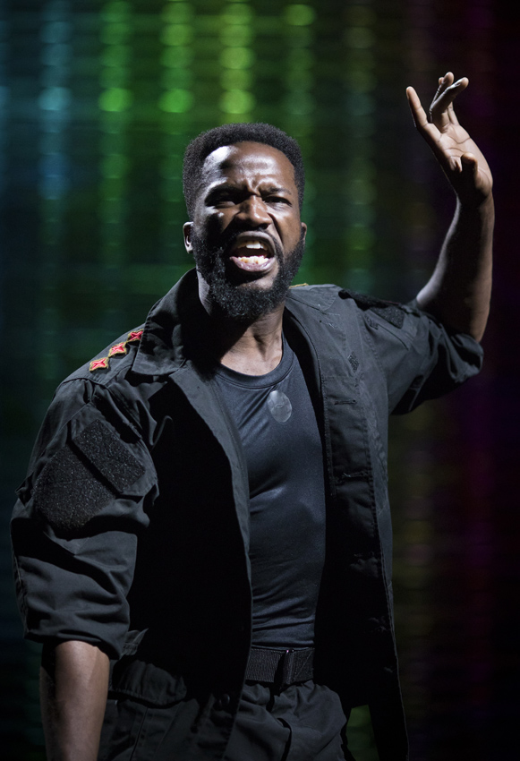 Sope Dirisu in Coriolanus - Copyright RSC - Credit Helen Maybanks