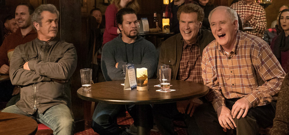 Mel Gibson, Mark Wahlberg, John Lithgow, and Will Ferrell in Daddy's Home 2 - Credit IMDB