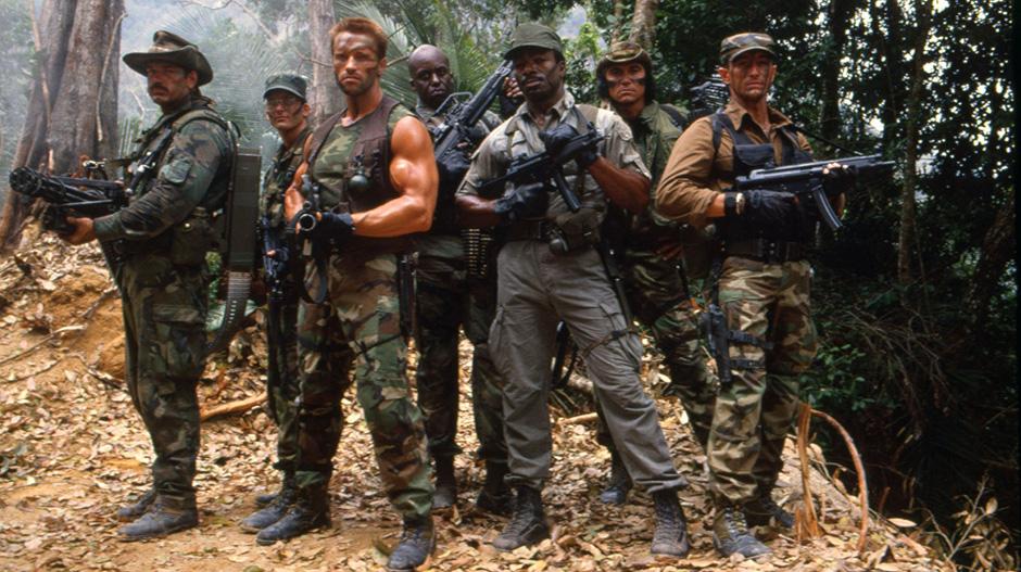 Arnold Schwarzenegger, Shane Black, Jesse Ventura, Carl Weathers, Bill Duke, Richard Chaves, and Sonny Landham in Predator - Credit IMDB